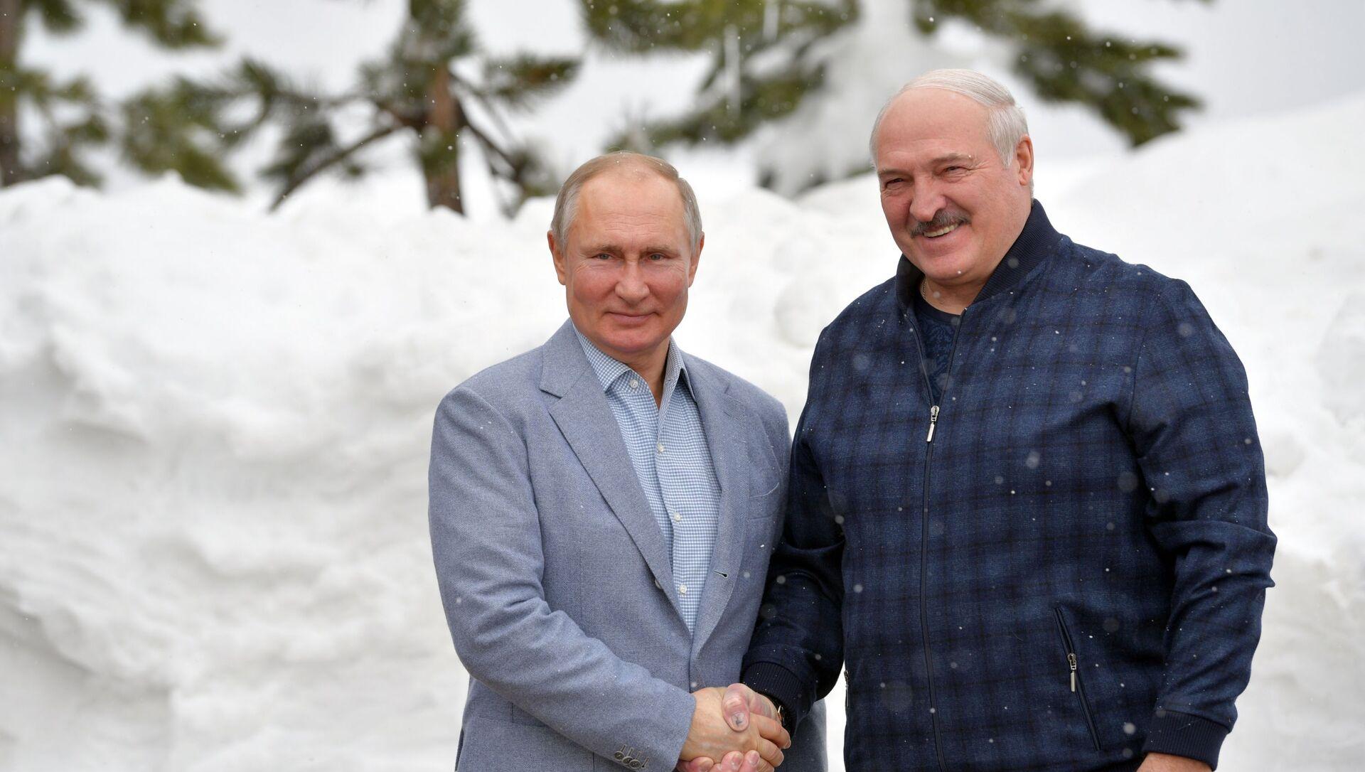 Prezydent Rosji Władimir Putin i prezydent Białorusi Alaksandr Łukaszenka podczas spotkania w Soczi - Sputnik Polska, 1920, 22.02.2021
