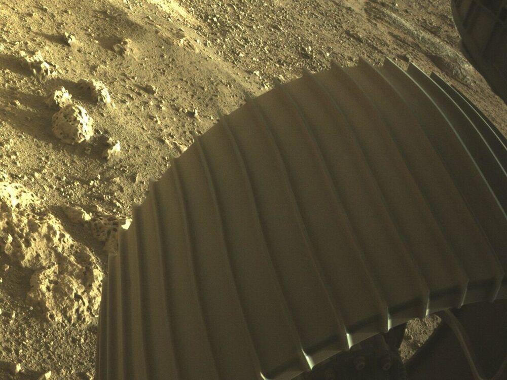 Zdjęcia zrobione przez łazika marsjańskiego Perseverance przy pomocy kamery Rover Down-Look