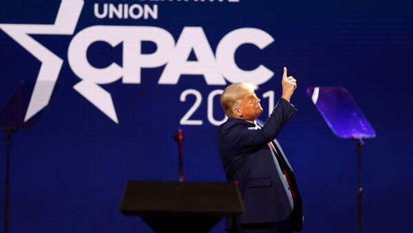 Donald Trump na Konferencji Konserwatywnej Akcji Politycznej (CPAC) w Orlando na Florydzie. - Sputnik Polska