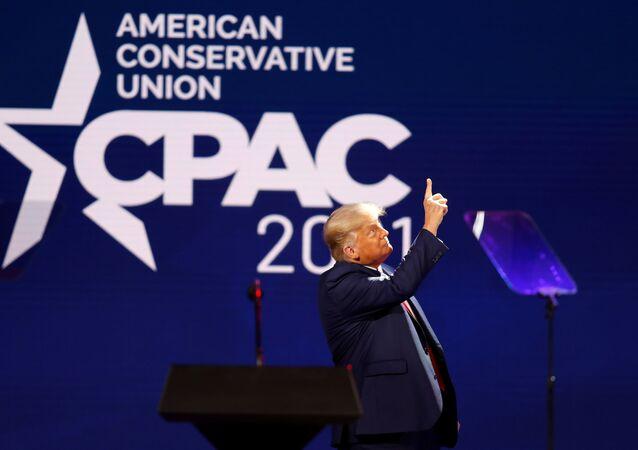 Donald Trump na Konferencji Konserwatywnej Akcji Politycznej (CPAC) w Orlando na Florydzie.