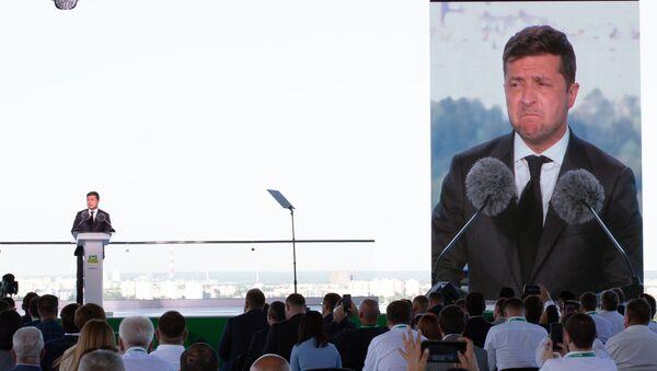 Prezydent Ukrainy Wołodymyr Zełenski na zjeździe partii Sługa Narodu w Kijowie. - Sputnik Polska