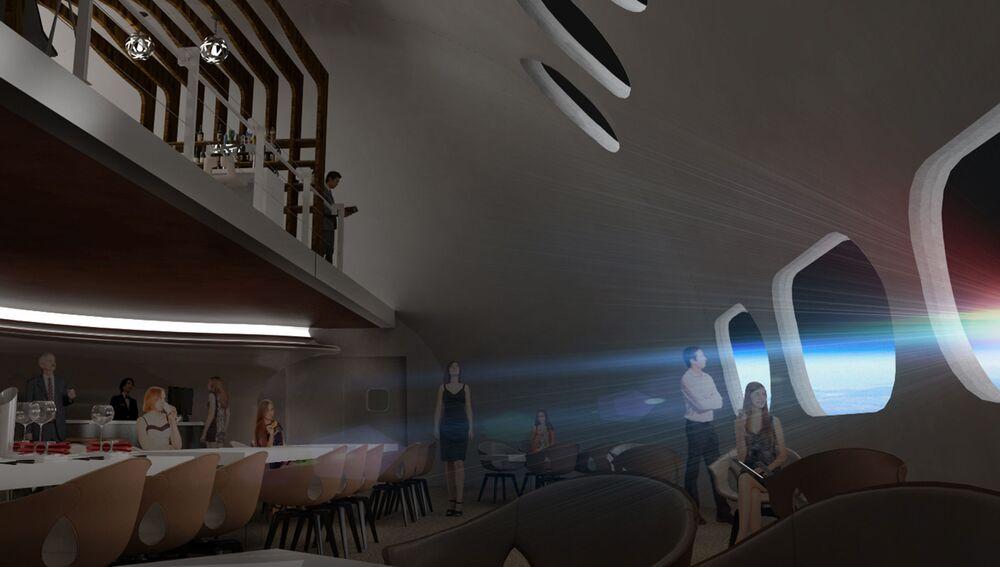 Restauracja w hotelu kosmicznym Voyager Station