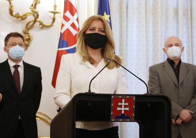 Prezydent Słowacji Zuzana Čaputova podczas spotkania z czołowymi słowackimi naukowcami i lekarzami w Pałacu Prezydenckim