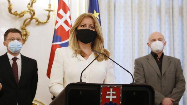 Prezydent Słowacji Zuzana Čaputova podczas spotkania z czołowymi słowackimi naukowcami i lekarzami w Pałacu Prezydenckim - Sputnik Polska