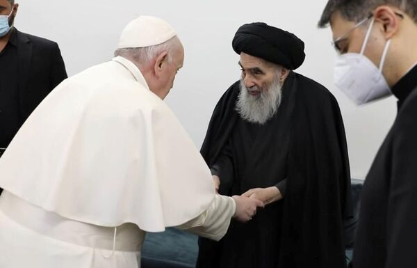 Spotkanie Papieża z duchowym przywódcą irackich szyitów, ajatollahem Ali al-Sistani.  - Sputnik Polska