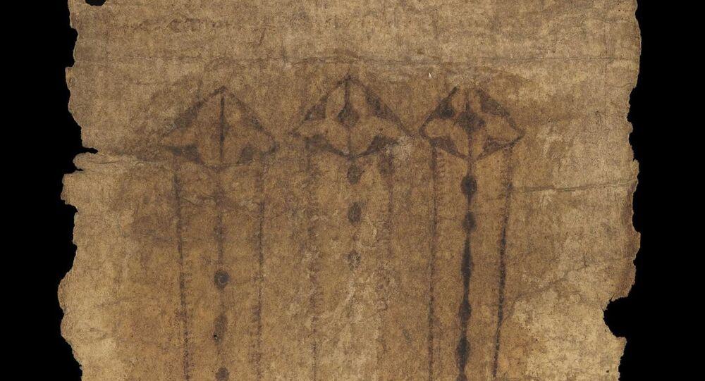 Pas z owczej skóry z XV wieku, służący jako talizman podczas porodu.