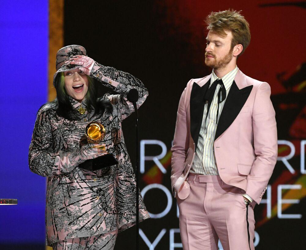 Piosenkarka Billie Eilish i jej brat FINNEAS na 63. ceremonii rozdania nagród Grammy w Los Angeles