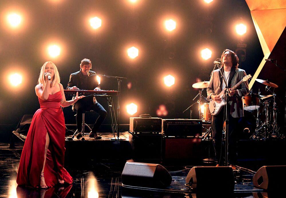 Piosenkarka Maren Morris i gitarzysta John Mayer na 63. ceremonii rozdania nagród Grammy w Los Angeles