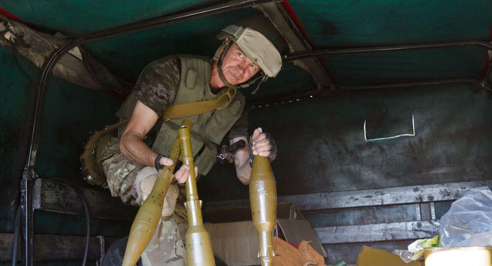 Ukraiński żołnierz w Donbasie. Zdjęcie archiwalne