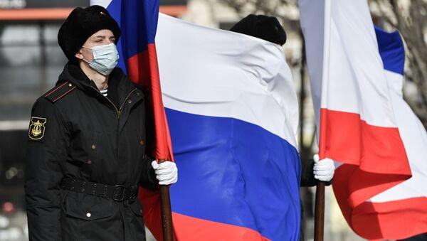 Uczestnicy wydarzeń poświęconych 7. rocznicy przyłączenia Krymu do Rosji. - Sputnik Polska