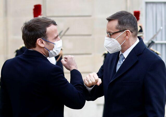 Premier Mateusz Morawiecki i prezydent Francji Emmanuel Macron