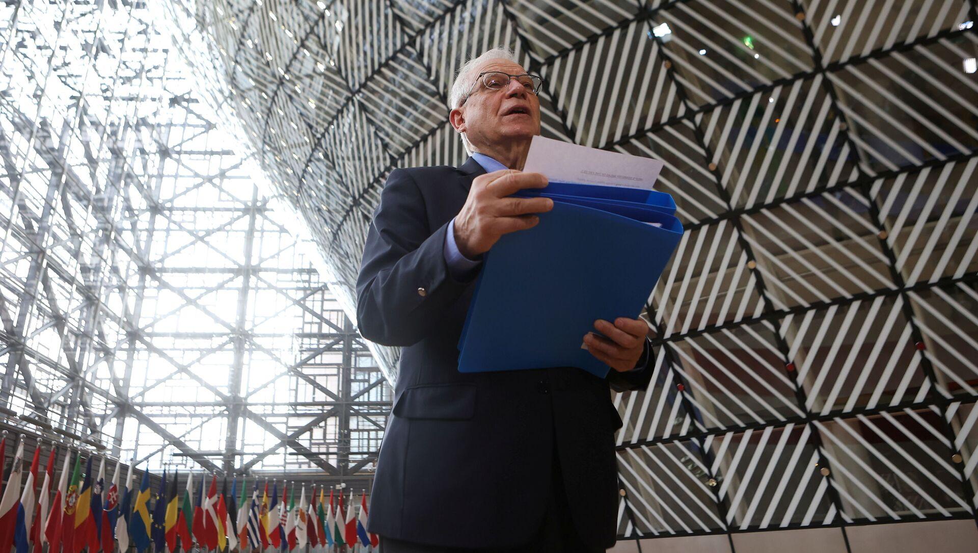 Wysoki przedstawiciel UE ds. polityki zagranicznej i bezpieczeństwa Josep Borrell przed spotkaniem ministrów spraw zagranicznych UE - Sputnik Polska, 1920, 15.05.2021