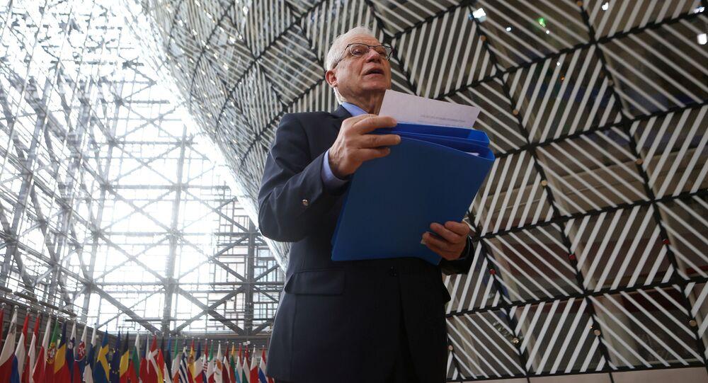 Wysoki przedstawiciel UE ds. polityki zagranicznej i bezpieczeństwa Josep Borrell przed spotkaniem ministrów spraw zagranicznych UE