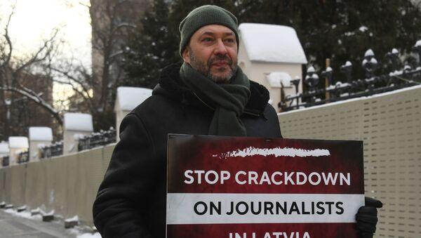 Łotwa, protest reporterów  - Sputnik Polska