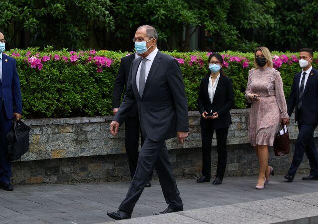 Szef MSZ Rosji Siergiej Ławrow w Guilin, Chiny