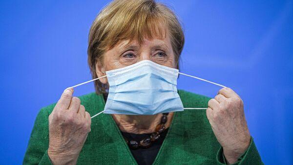 Kanclerz Niemiec Angela Merkel na konferencji prasowej w Niemczech - Sputnik Polska