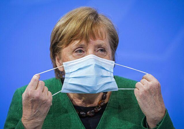 Kanclerz Niemiec Angela Merkel na konferencji prasowej w Niemczech