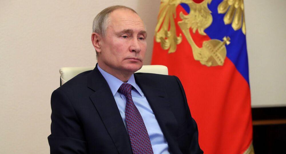 Prezydent Rosji Władimir Putin podczas wideokonferencji na temat realizacji projektów integracyjnych w przestrzeni EAEU