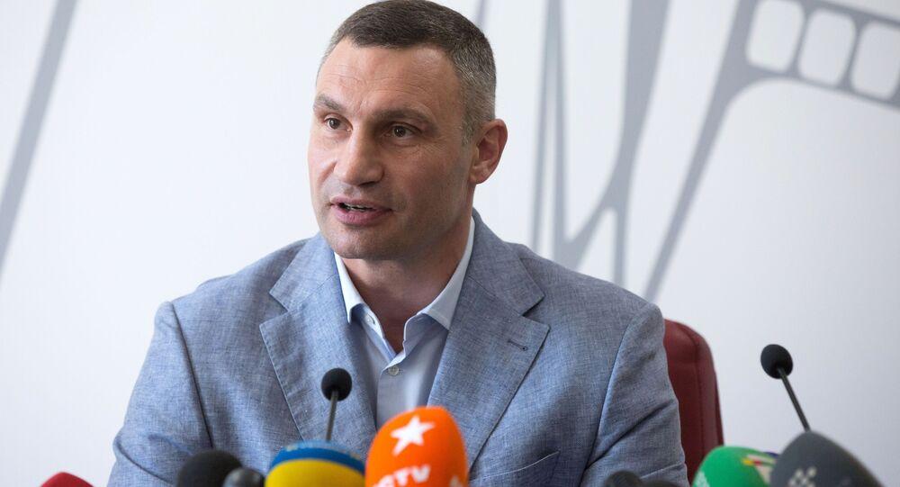 Witalij Kliczko na konferencji prasowej w Kijowie