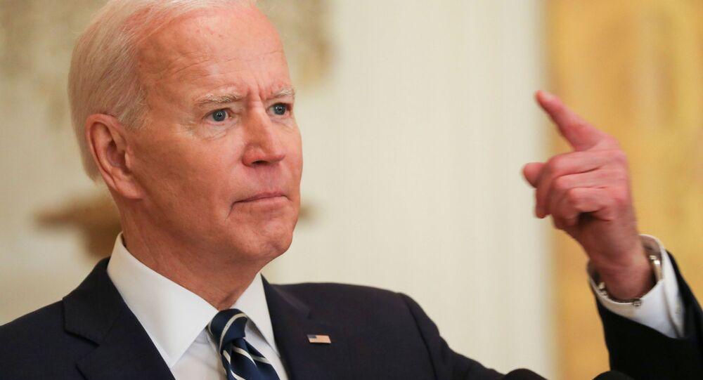 Prezydent USA Joe Biden podczas swojej pierwszej oficjalnej konferencji prasowej w Waszyngtonie w USA