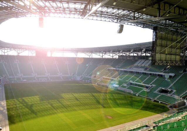 Stadion piłkarski we Wrocławiu.