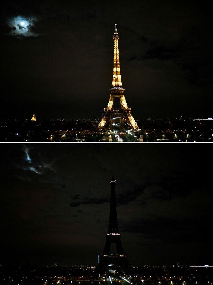 """Zdjęcia do i po akcji """"Godzina dla Ziemi w Paryżu"""