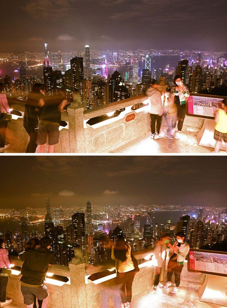"""Zdjęcia do i po akcji """"Godzina dla Ziemi w Hongkongu"""