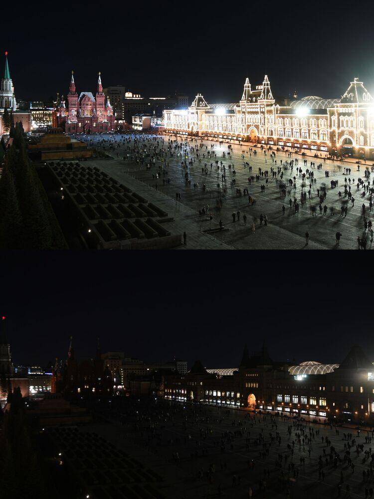 """Zdjęcia do i po akcji """"Godzina dla Ziemi w Moskwie"""