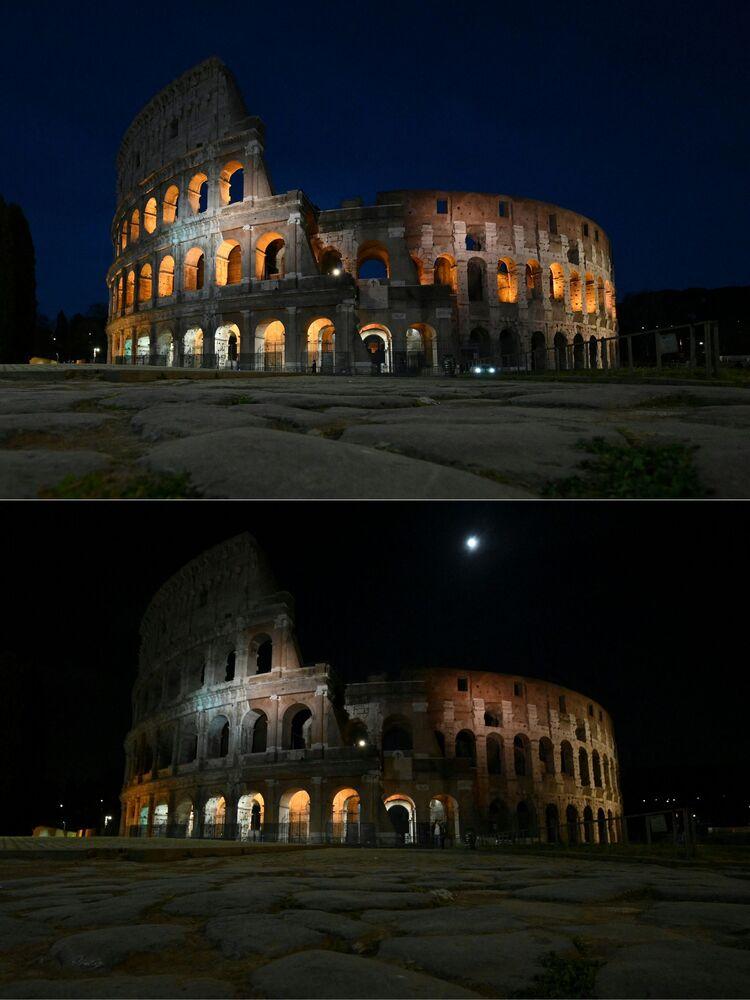 """Zdjęcia do i po akcji """"Godzina dla Ziemi w Rzymie"""