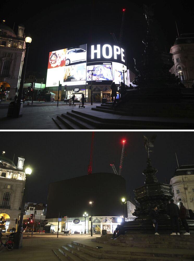 """Zdjęcia do i po akcji """"Godzina dla Ziemi w Londynie"""