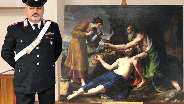 "Obraz XVII-wiecznego artysty Nicolasa Poussina ""Loth avec ses deux filles lui servant à boire"" - Sputnik Polska"
