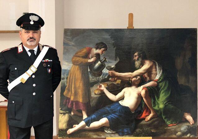 """Obraz XVII-wiecznego artysty Nicolasa Poussina """"Loth avec ses deux filles lui servant à boire"""""""