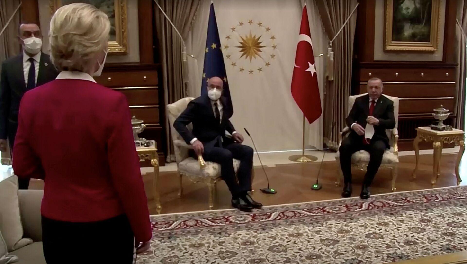 Spotkanie Recepa Tayyipa Erdogana z Ursulą von der Leyen i przewodniczącym Rady Europejskiej Charlesem Michelem w Ankarze - Sputnik Polska, 1920, 08.04.2021