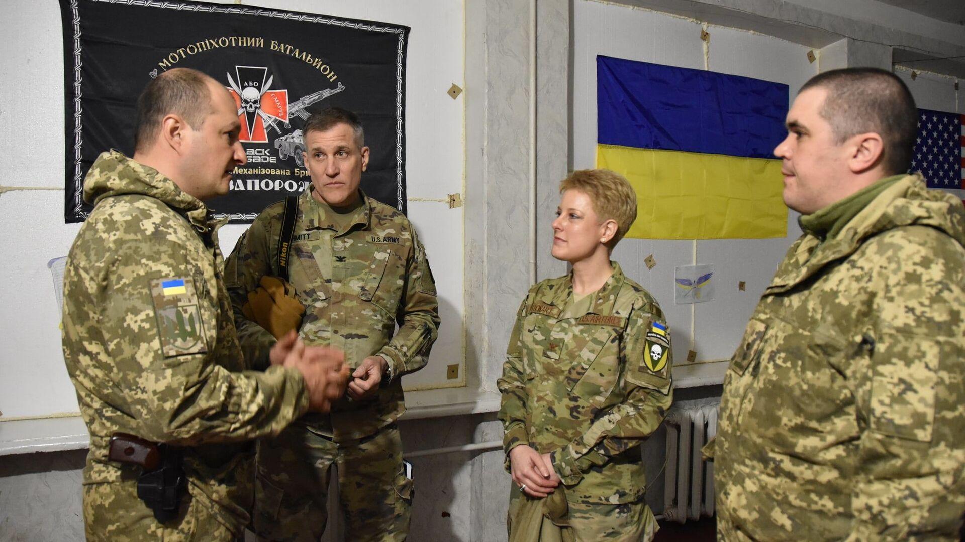 Delegacja USA, na której czele stała attaché wojskowa w Kijowie Brittany Stewart, odwiedziła w piątek rejon operacji wojskowej w Donbasie i zapoznała się z sytuacją operacyjną. - Sputnik Polska, 1920, 10.04.2021