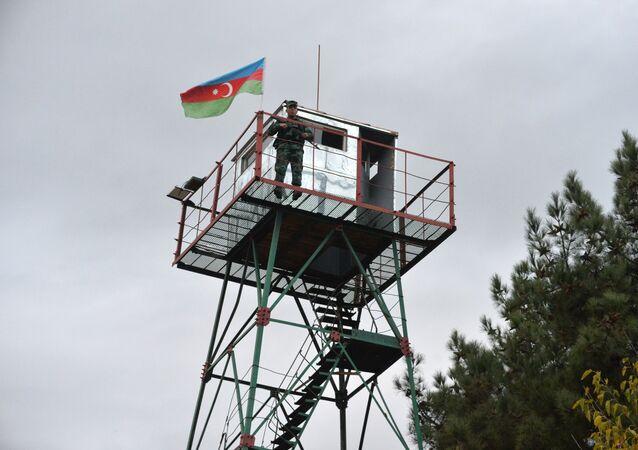 Azerbejdżańscy strażnicy graniczni na granicy z Iranem.