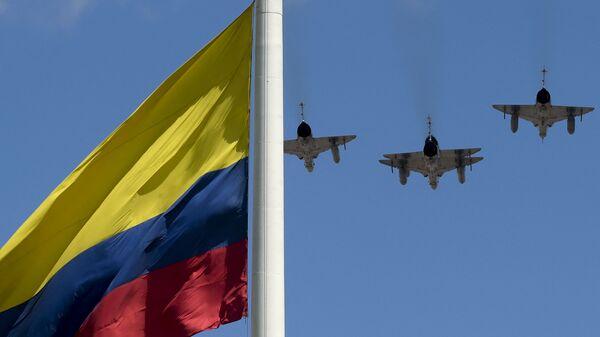 Flaga Kolumbii i myśliwce Sił Powietrznych Kolumbii - Sputnik Polska