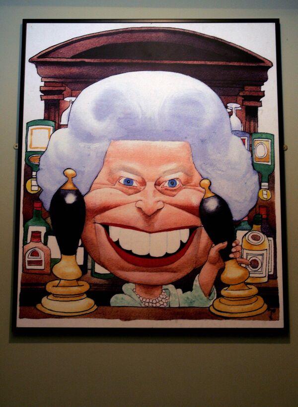 Animowany obraz królowej Wielkiej Brytanii Elżbiety II w Animation Gallery w Londynie, Wielka Brytania - Sputnik Polska