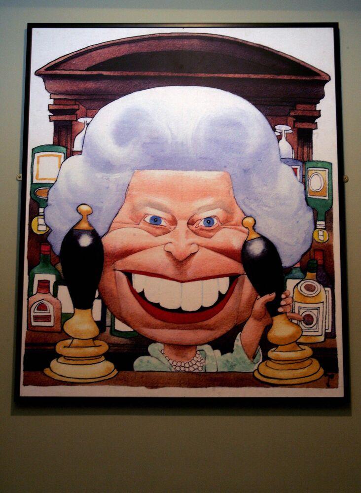 Animowany obraz królowej Wielkiej Brytanii Elżbiety II w Animation Gallery w Londynie, Wielka Brytania