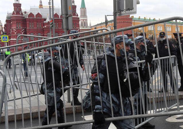 Funkcjonariusze Gwardii Narodowej w Moskwie, 21.04.2021