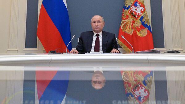 Władimir Putin przemawiam na szczycie klimatycznym - Sputnik Polska