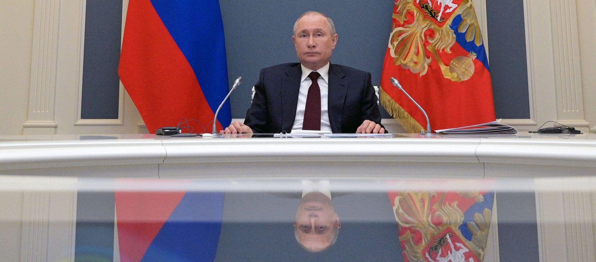 Władimir Putin przemawiam na szczycie klimatycznym - Sputnik Polska, 1920, 22.04.2021