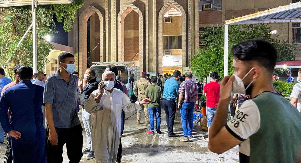 Pożar w szpitalu Ibn Khatib w Iraku.
