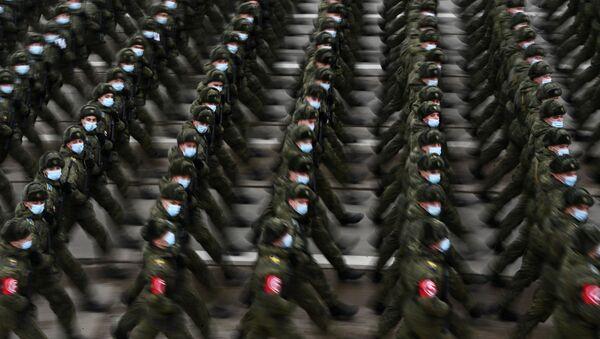 Rosyjscy żołnierze na próbie parady w Alabino pod Moskwą. - Sputnik Polska