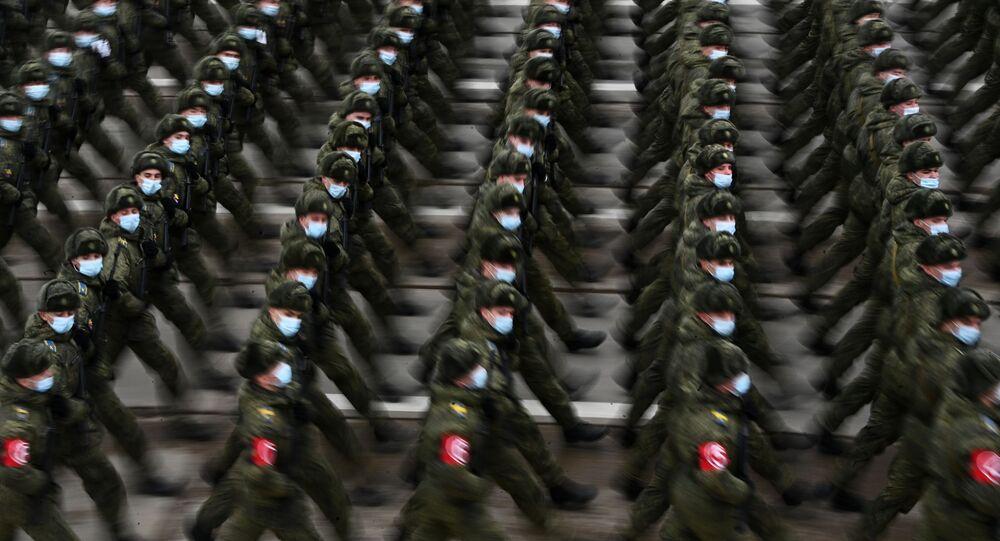 Rosyjscy żołnierze na próbie parady w Alabino pod Moskwą.