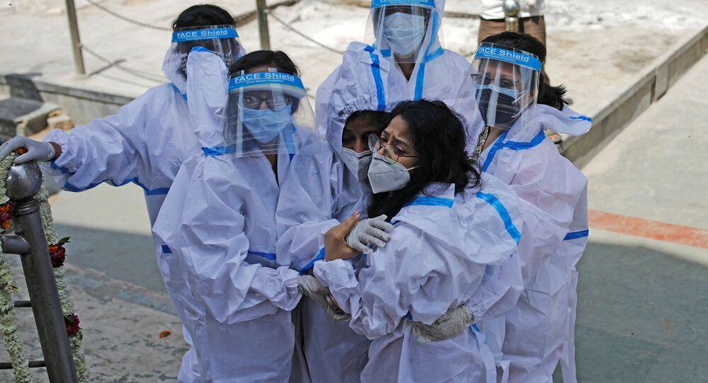 Pandemia koronawirusa SARS-CoV-2. New Delhi, Indie.