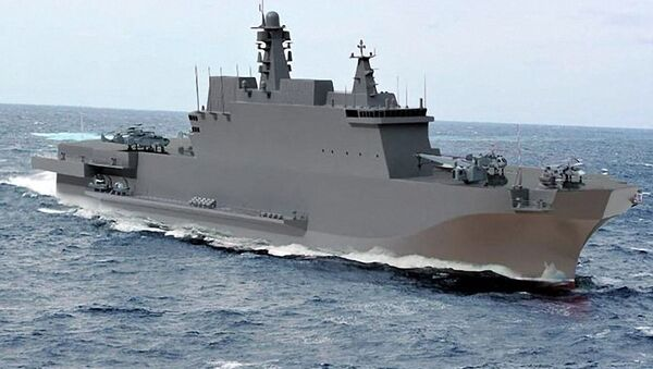 Uniwersalny okręt desantowy projektu 23900  typu Iwan Rogow. - Sputnik Polska
