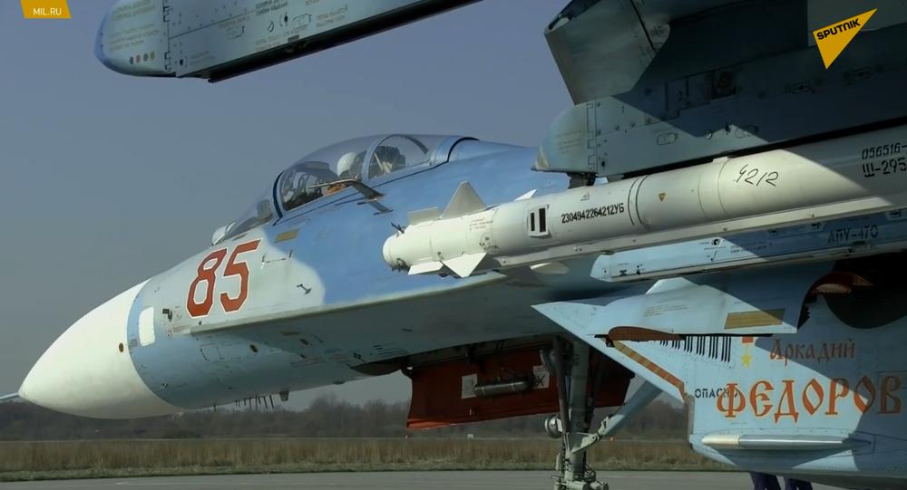 Su-27 podczas szkolenia w zakresie ochrony przestrzeni powietrznej Federacji Rosyjskiej