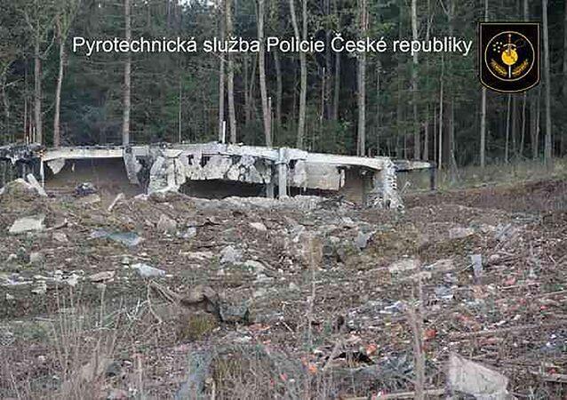 Wysadzenie składu z amunicją we  Vrběticach w 2014 roku.