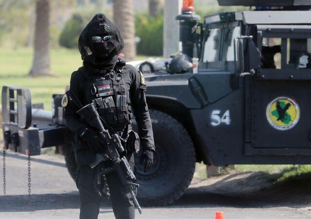 Żołnierz sił antyterrorystycznych. Bagdad, Irak.