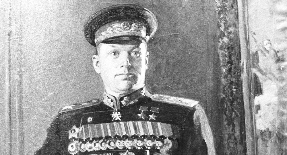 Portret K. Rokossowskiego, artysta: K. D. Kitajka